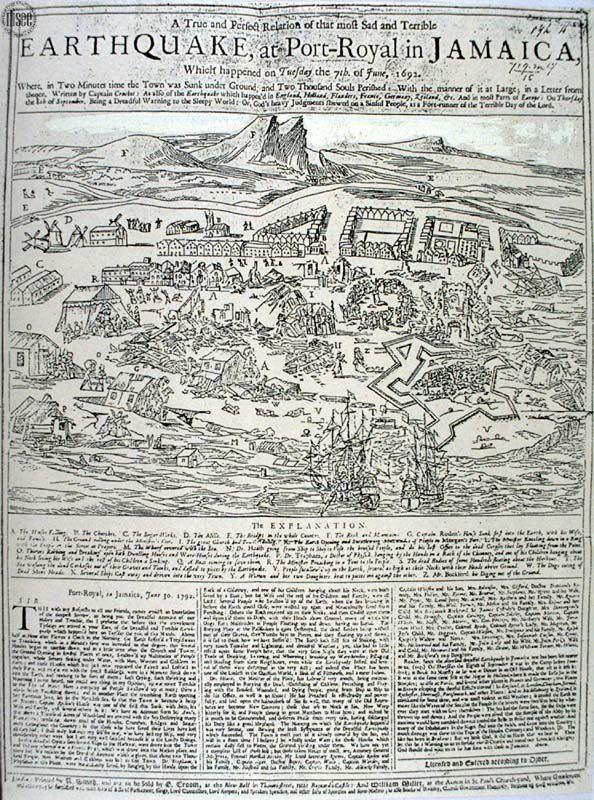 1692 Jamaica earthquake Earthquake at Port Royal Jamaica 1692 Contemporary Drawing