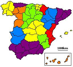 1822 territorial division of Spain