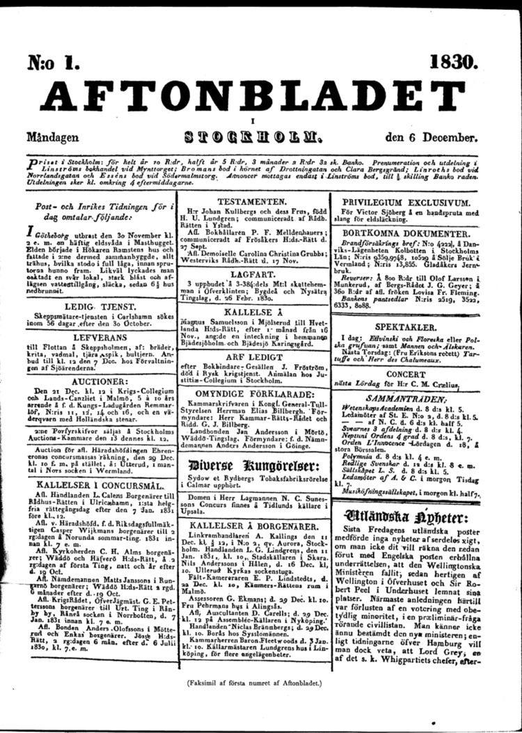 1830 in Sweden
