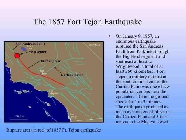 1857 Fort Tejon earthquake The san andreas fault system