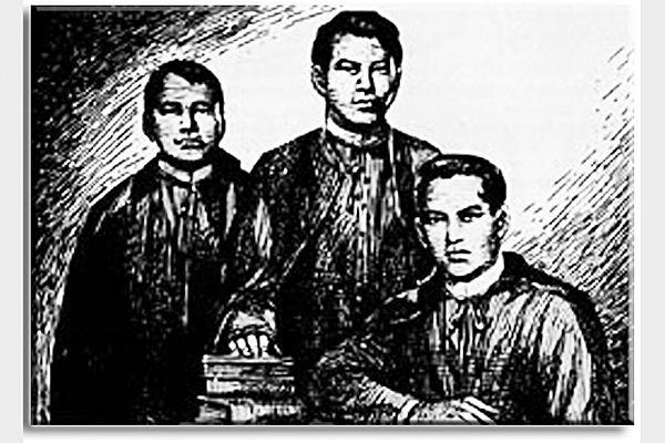 """Portrait of José Burgos, Jacinto Zamora, and Mariano Gómez also known as """"GomBurZa""""."""