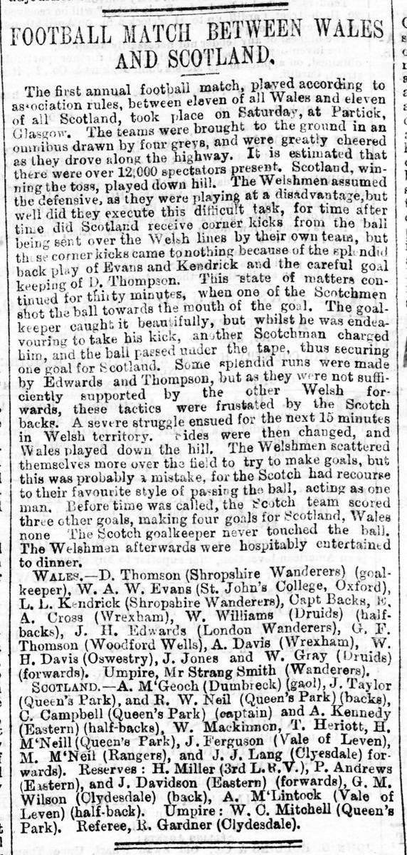 1876 Scotland v Wales football match
