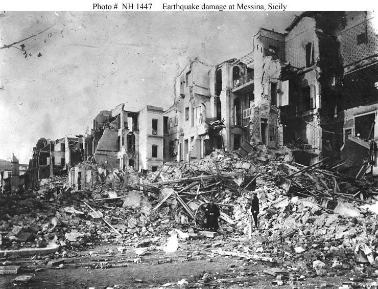 1908 Messina earthquake EventsEarthquake at Messina Sicily 28 December 1908