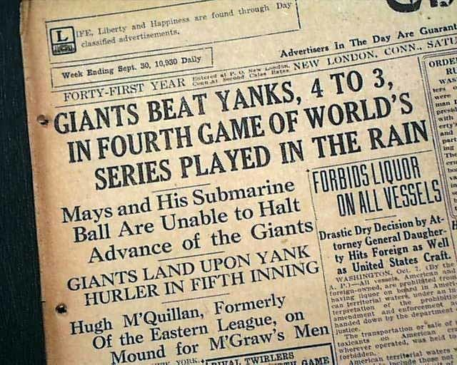 1922 World Series NY Giants vs NY Yankees 1922 World Series RareNewspaperscom