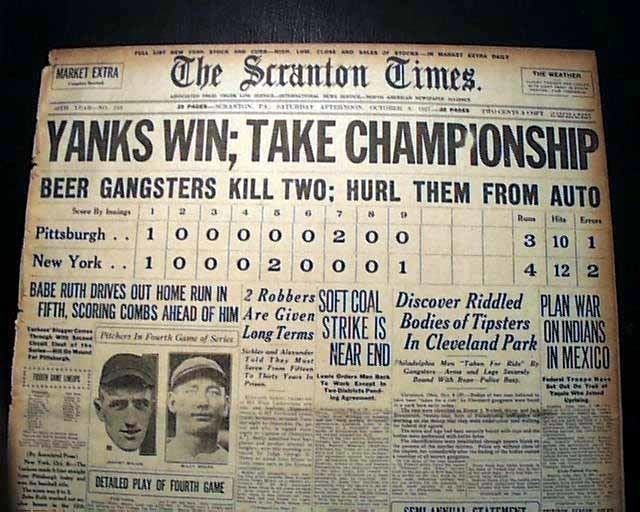 1927 World Series Yankees win the 1927 World Series same day report