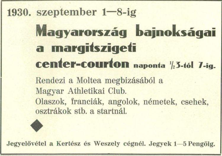 1930 Hungarian International Tennis Championships