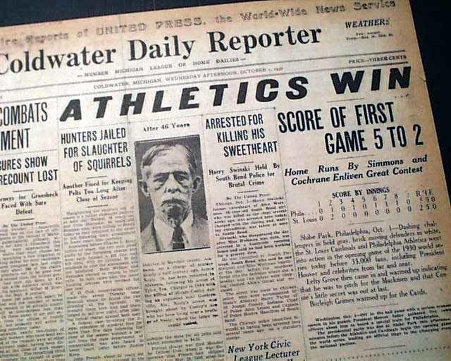 1930 World Series 1930 World Series Baseball RareNewspaperscom