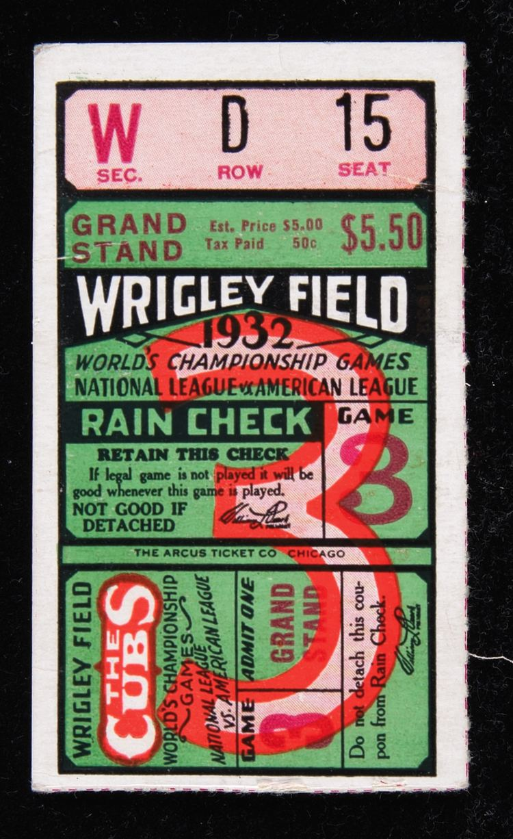 1932 World Series Lot Detail 1932 World Series Ticket Wrigley Field Game 3 quotRuth39s