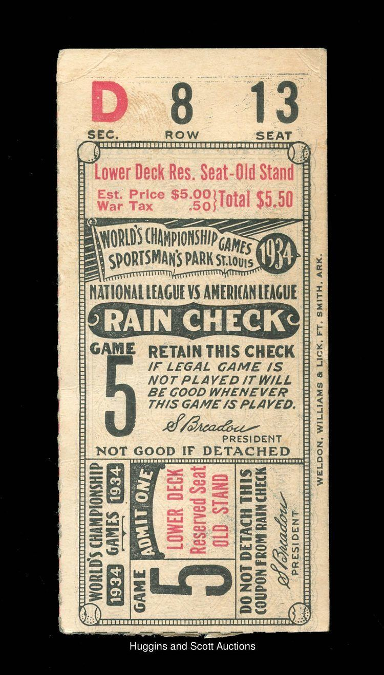 1934 World Series 1934 World Series Sportsman39s ParkIssued Program and Game 5 Ticket Stub