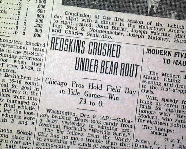 1940 NFL Championship Game Chicago Bears win 1940 NFL title 730 RareNewspaperscom