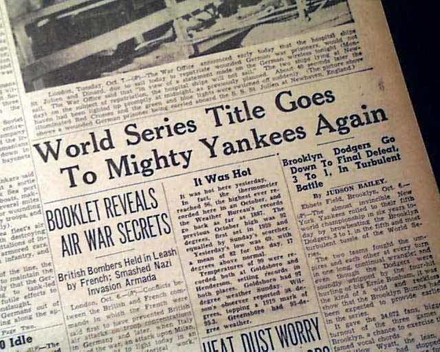 1941 World Series imagesrarenewspaperscomebayimgs4922011image