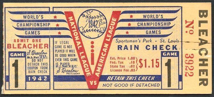 1942 World Series Lot Detail 1942 World Series Game 1 Ticket Stub