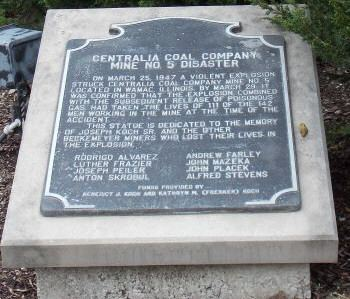 1947 Centralia mine disaster hintongencomcoalbeckemeyerplaquejpg