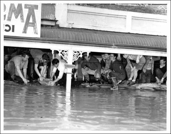 1956 Murray River flood Murray River floods at Mannum volunteers building barriers with