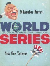 1958 World Series wwwbaseballalmanaccomimages1958wsprogramjpg