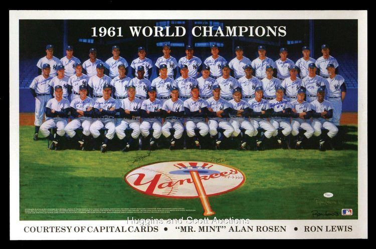 1961 New York Yankees season 1961 New York Yankees TeamSigned Poster wMantle Dickey Ford