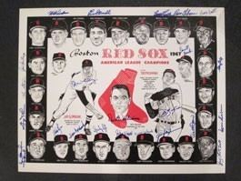 1967 Boston Red Sox season 1967 Boston Red Sox Team Autographed Placemat Carl Yastrzemski