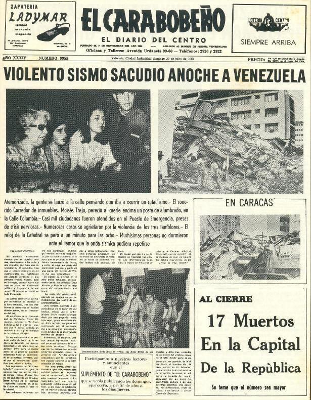 1967 Caracas earthquake CARACAS EARTHQUAKE 2907 1967 Cada da mejor y mejor