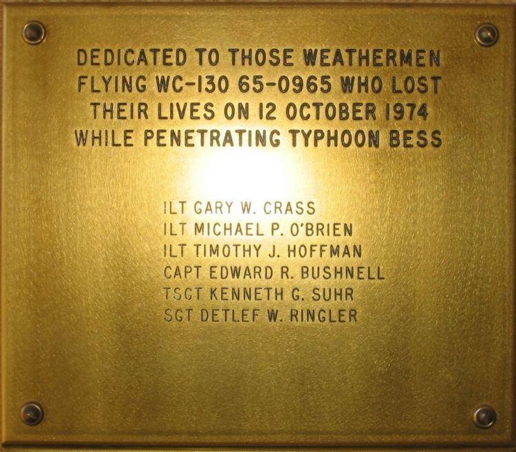 1974 Typhoon Bess WC-130 Swan 38 disappearance wwwwundergroundcomhurricaneswan38plaquejpg
