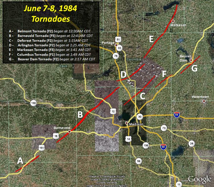 1984 Barneveld tornado outbreak June 8 1984 Barneveld WI F5 Tornado