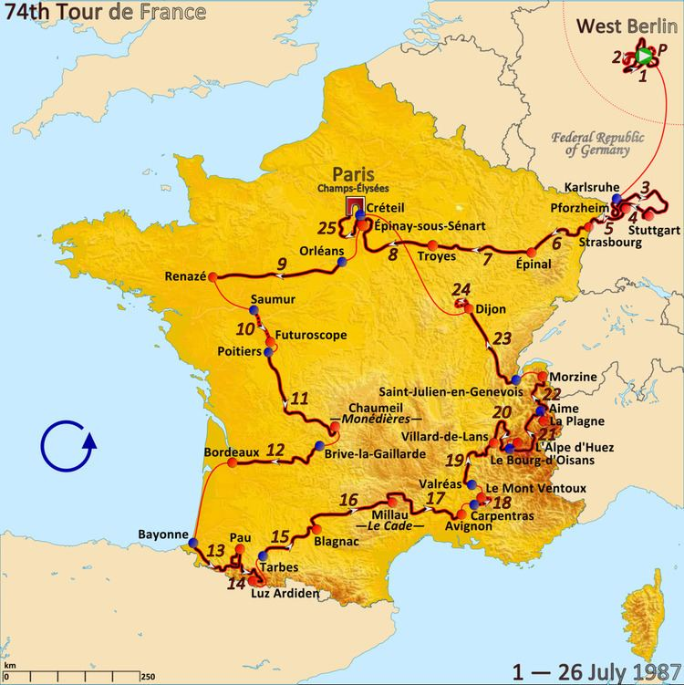 1987 Tour de France, Stage 13 to Stage 25