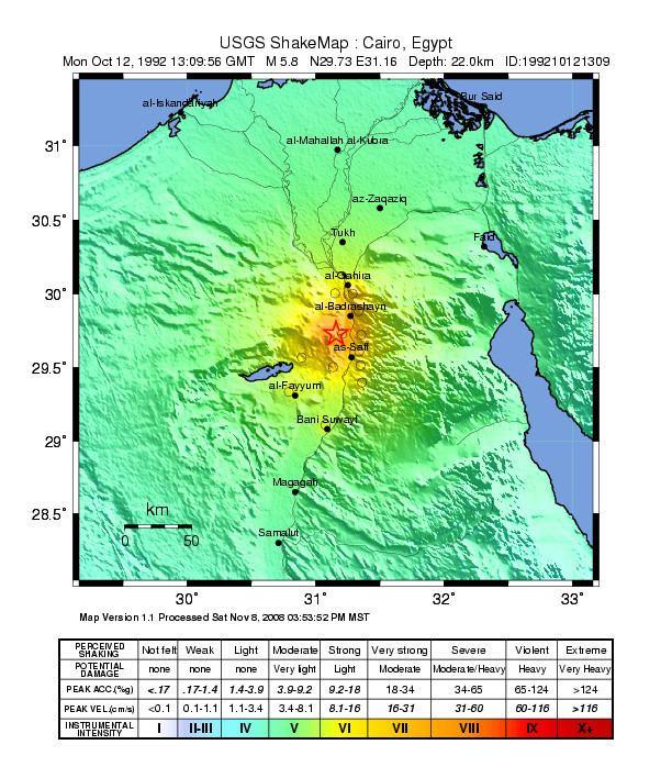 1992 Cairo earthquake FileUSGS Shakemap 1992 Cairo earthquakejpg Wikimedia Commons