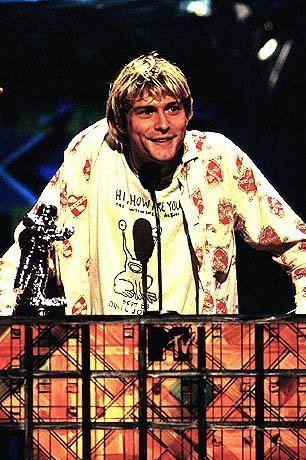 1992 MTV Video Music Awards Kurt Cobain accepts his award at the 1992 MTV Video Music Awards