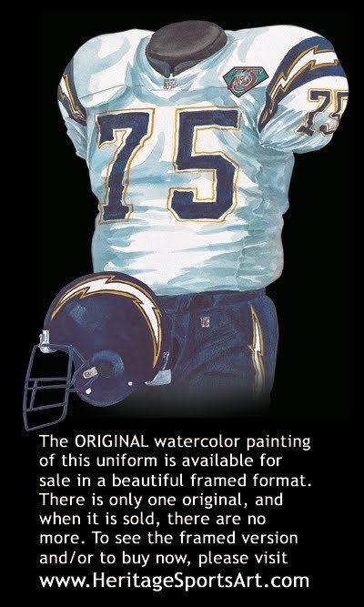 1994 San Diego Chargers season San Diego Chargers Uniform and Team History Heritage Uniforms and