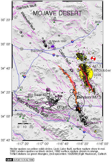 1999 Hector Mine earthquake Southern California Earthquake Data Center at Caltech