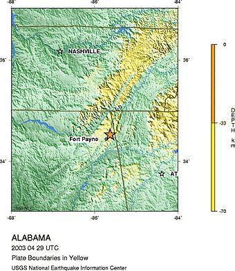 2003 Alabama earthquake httpsuploadwikimediaorgwikipediaenthumbc