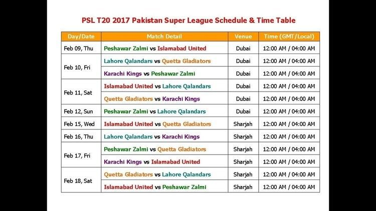 2017 Pakistan Super League PSL 2017 Pakistan Super League Schedule amp Time Table YouTube