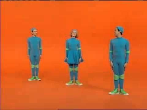 Casts of 4 Square, a Canadian television show for kids, wearing all blue outfits and green shoes with an orange background.