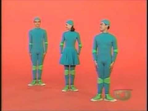 Casts of 4 Square, a Canadian television show for kids, wearing all blue outfits and green shoes.