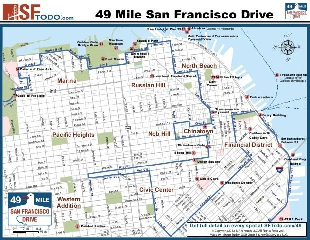49-Mile Scenic Drive San Francisco39s 49 Mile Drive Map