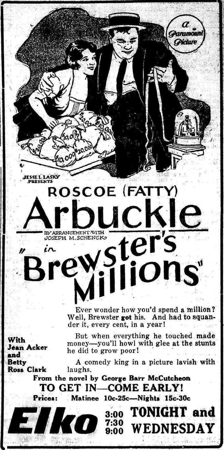 Brewsters Millions (1921 film) movie poster