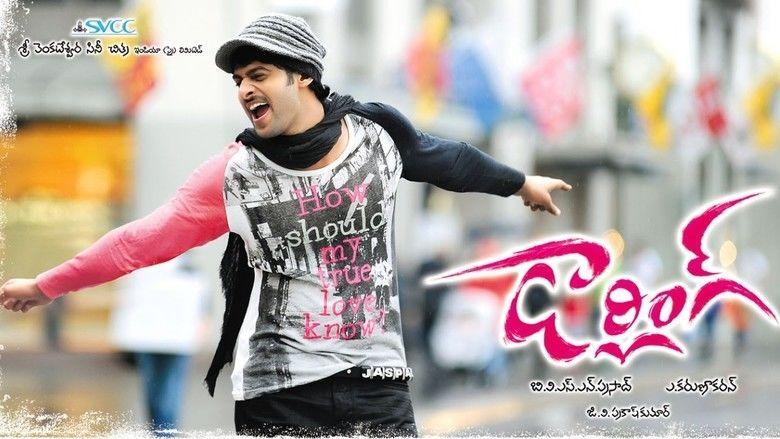 Darling (2010 film) Prabhas wearing a printed long-sleeved shirt, denim pants, scarf, and a hat