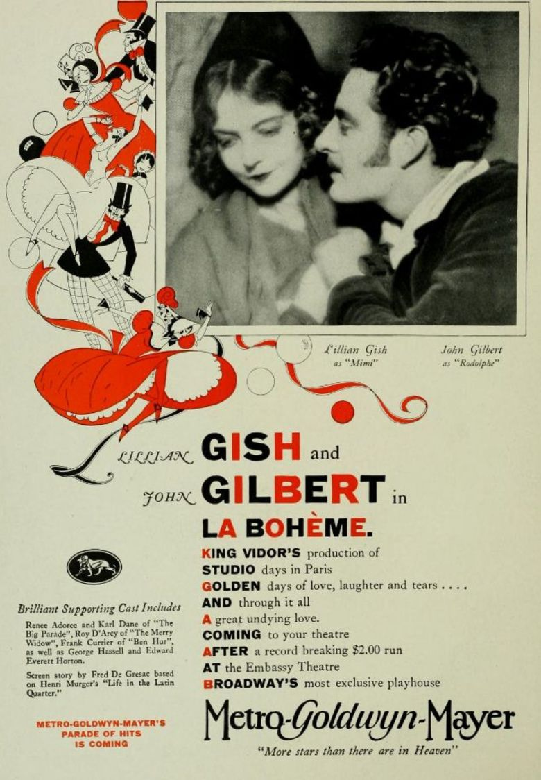La Boheme (1926 film) movie poster