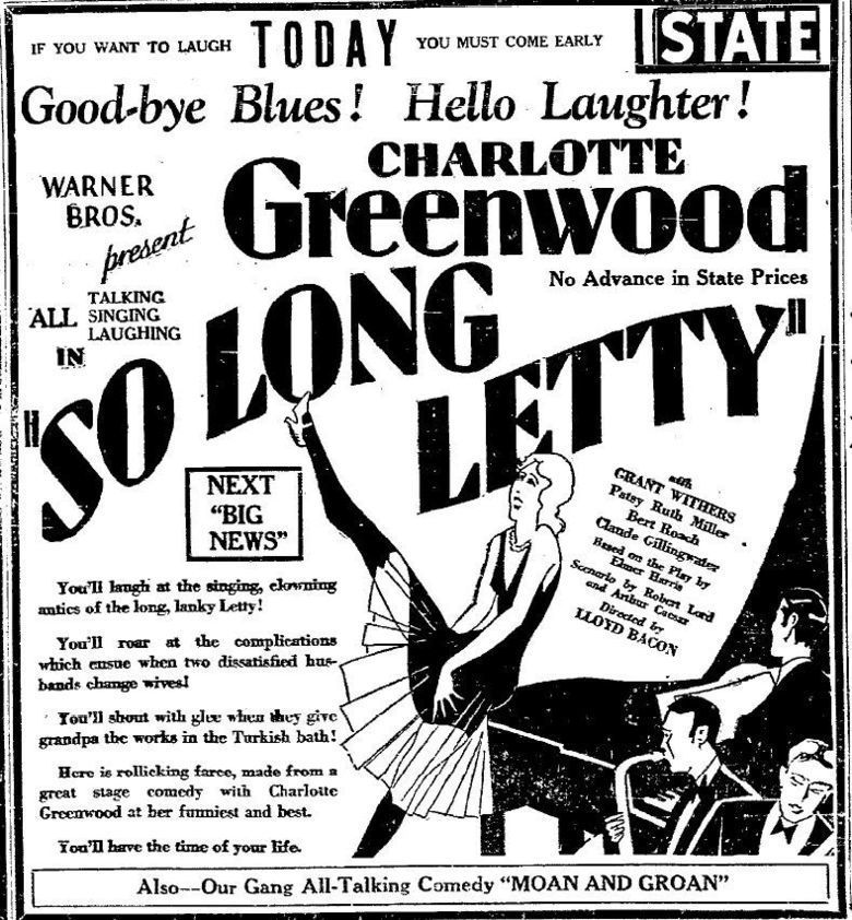 So Long Letty (1929 film) movie poster