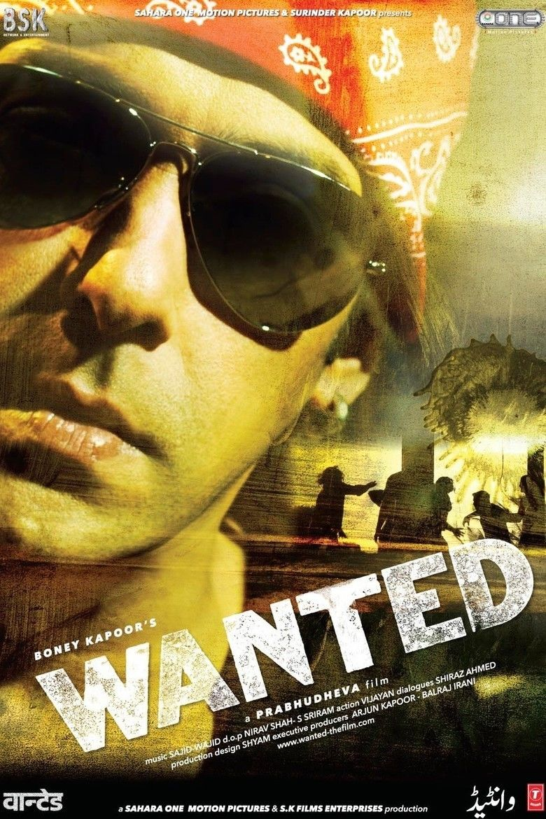 Salman Khan wearing black shades and red bandana in the movie poster of Wanted (2009 film)