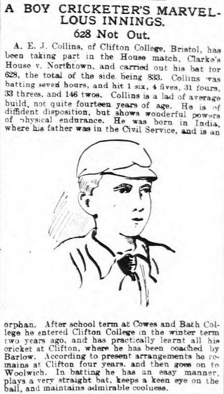 A. E. J. Collins A E J Collins and the highest recorded cricket score