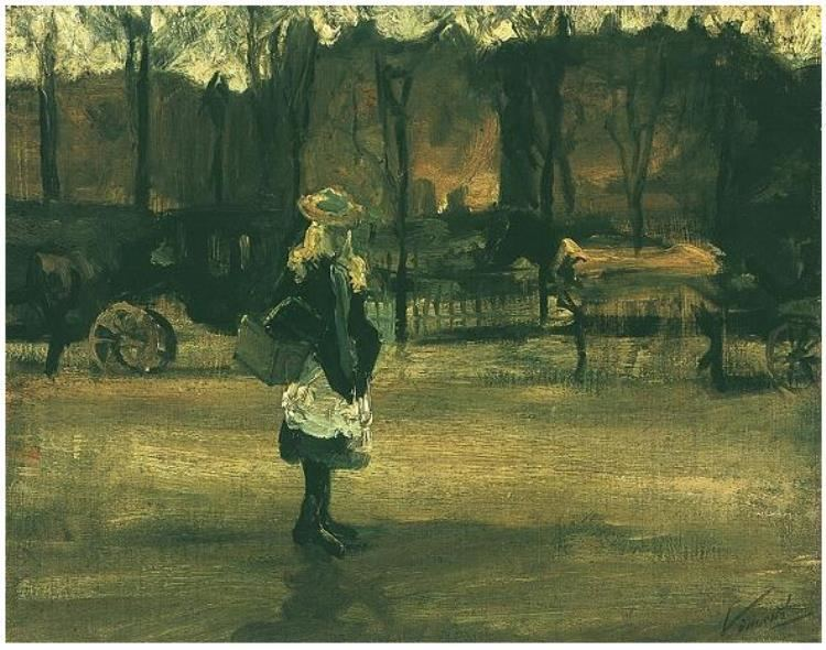 A Girl in the Street, Two Coaches in the Background wwwvangoghgallerycomcatalogimage0013Girlin