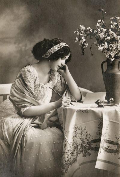 A Lady Writing a Letter A lady writing a letter Retro Postcards Postallove postcards