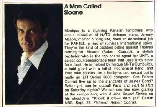 A Man Called Sloane A TV Review by Michael Shonk A MAN CALLED SLOANE The Venus Microbe