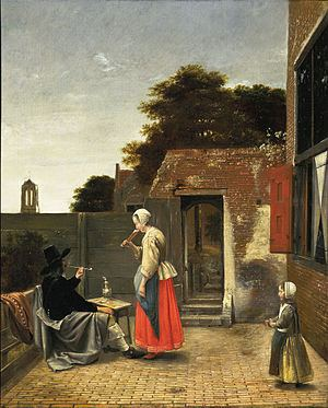 A Man Smoking and a Woman Drinking in a Courtyard httpsuploadwikimediaorgwikipediacommonsthu