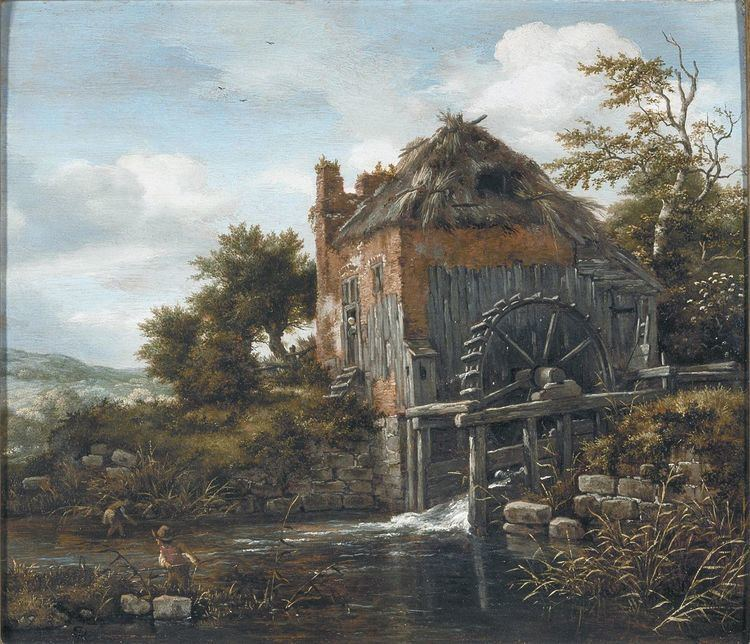 A Thatch-Roofed House with a Water Mill