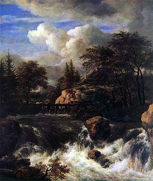 A Waterfall in a Rocky Landscape httpsuploadwikimediaorgwikipediacommonsthu