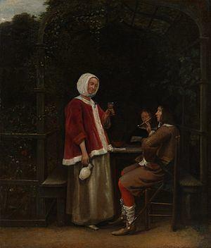 A Woman and Two Men in an Arbour httpsuploadwikimediaorgwikipediacommonsthu