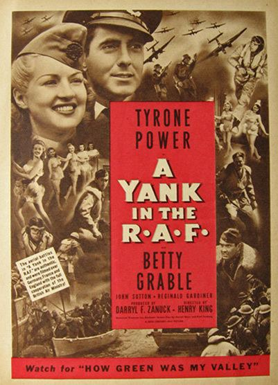1941 A Yank in the RAF Movie Ad Betty Grable Vintage Movie Ads