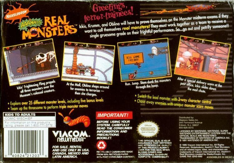 Aaahh!!! Real Monsters (video game) wwwmobygamescomimagescoversl33535nickelodeo