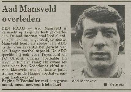 Aad Mansveld Aad Mansveld voetballer met een grote mond mens met een